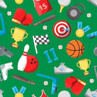 Naadloos patroon met verschillende sportartikelen.