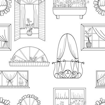 Naadloos patroon met verschillende vensters.