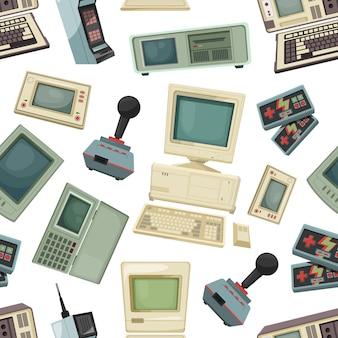 Naadloos patroon met verschillende vintage computers en gadgets. retro-technologieapparatuurapparaat voor spel en spel. vector illustratie