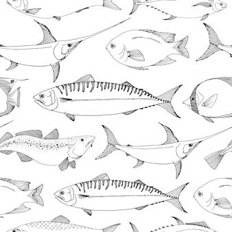 Naadloos patroon met verschillende vissen.