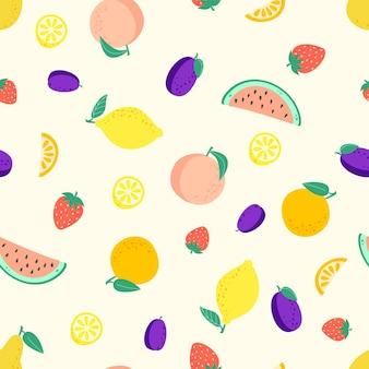 Naadloos patroon met verschillende vruchten perzik citroen watermeloen pruim aardbei sinaasappel peer