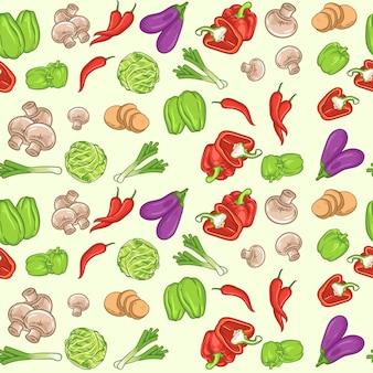 Naadloos patroon met verse groenten. biologisch voedsel. tuinieren of landbouwconcept
