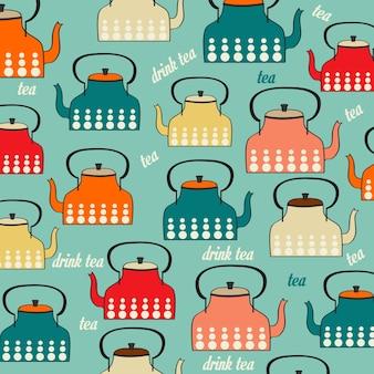 Naadloos patroon met vintage ketels