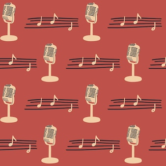 Naadloos patroon met vintage microfoon en bladmuziek vector muziekinstrumenten