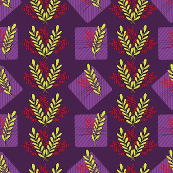 Naadloos patroon met violet gestreepte geschenkdozen en rode en groene bladeren