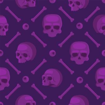 Naadloos patroon met violette schedels.