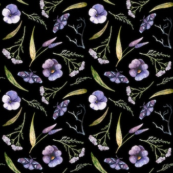 Naadloos patroon met viooltjes en duizendblad aquarel halloween-illustraties violette vlinders