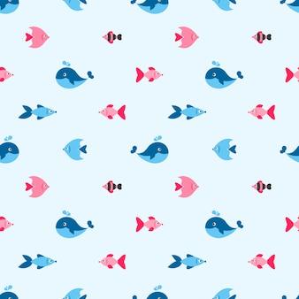Naadloos patroon met vis en walvis