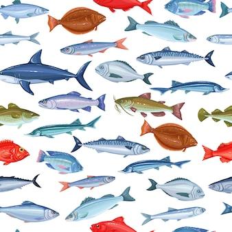 Naadloos patroon met vissen