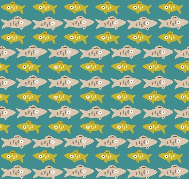 Naadloos patroon met vissenrijen