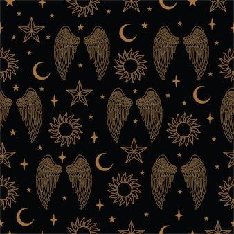 Naadloos patroon met vleugels en sterren in vector