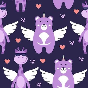 Naadloos patroon met vliegende giraf en beer. leuk karakterpatroon.