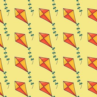 Naadloos patroon met vliegende vliegers vector hand getekende illustratie