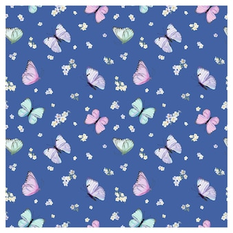 Naadloos patroon met vliegende vlinders en viooltjesbloemen in aquarelstijl
