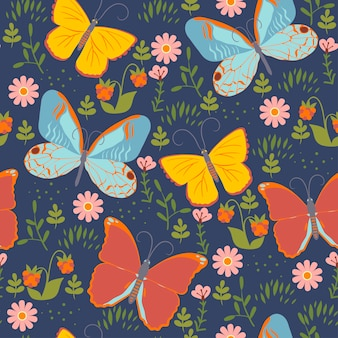 Naadloos patroon met vlinders en bloemen.