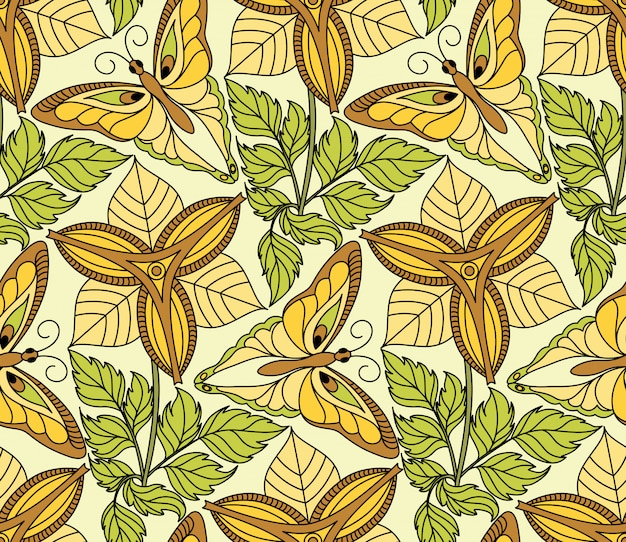Naadloos patroon met vlinders en bloemen