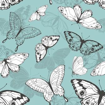 Naadloos patroon met vlinders. vector illustratie