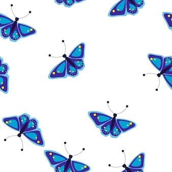 Naadloos patroon met vlinders vectorillustratie in vlakke stijl
