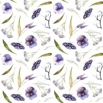Naadloos patroon met vlinders viooltjes en duizendblad aquarel halloween