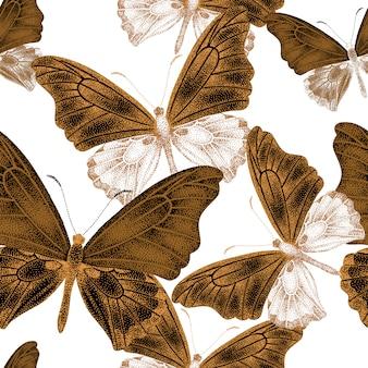 Naadloos patroon met vlinders.