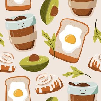 Naadloos patroon met voedselelementen.