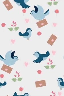 Naadloos patroon met vogeltjes.