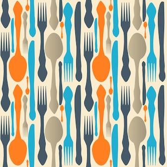 Naadloos patroon met vorken, lepels en messen. vector illustratie.