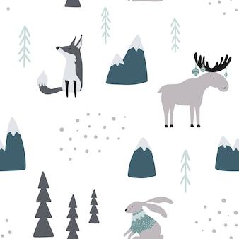 Naadloos patroon met vos, geit, elanden en konijn in bos.