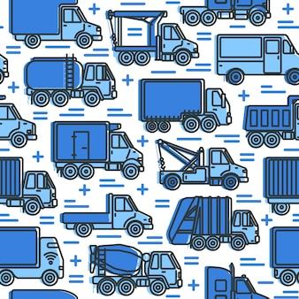 Naadloos patroon met vrachtwagens in lijnstijl