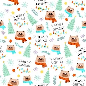 Naadloos patroon met vrolijk kerstpictogram.