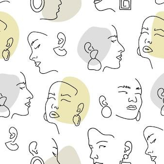Naadloos patroon met vrouwelijke portretten met oorbellen. lijntekening.