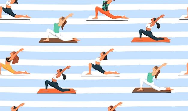 Naadloos patroon met vrouwen die yoga uitoefenen.