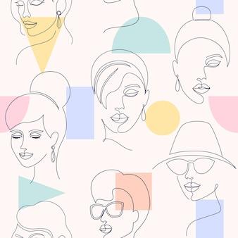Naadloos patroon met vrouwengezichten en geometrische vormen op lichte achtergrond