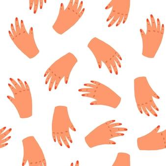 Naadloos patroon met vrouwenhanden. vector eindeloze achtergrond met eenvoudige doodle stijl. hand tekenen textuur van vrouwelijke handpalmen. voor textiel, omslagen, ansichtkaarten, posters en andere dingen