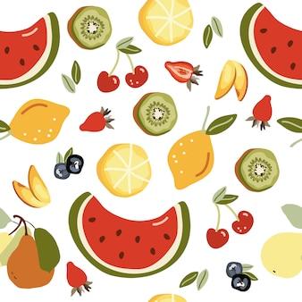 Naadloos patroon met vruchten.