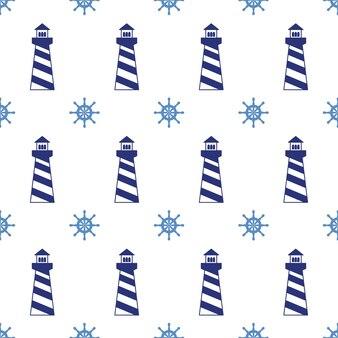 Naadloos patroon met vuurtorens en wielen. kan worden gebruikt voor wallpapers, webpagina-achtergronden. vector illustratie