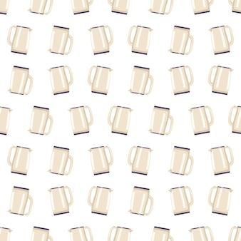 Naadloos patroon met waterkoker keuken print met gebruiksvoorwerpen voor kokend water theepot