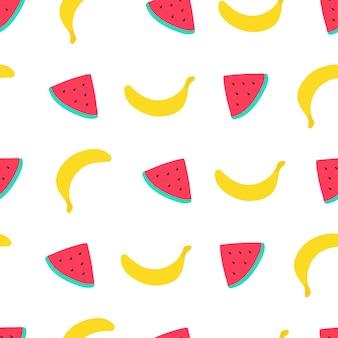 Naadloos patroon met watermeloen en banaan