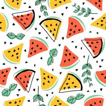 Naadloos patroon met watermeloenen en munt.