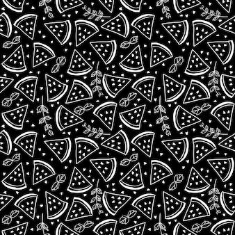 Naadloos patroon met watermeloenen en muntblaadjes