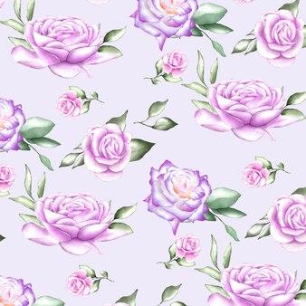 Naadloos patroon met waterverfbloemen
