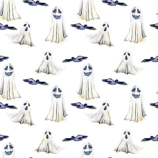 Naadloos patroon met waterverfgeesten en vogels