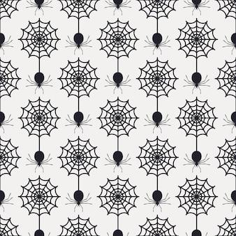 Naadloos patroon met web en spinnen