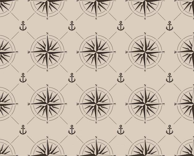 Naadloos patroon met windroos en anker