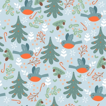 Naadloos patroon met wintervogels en kerstbomen.