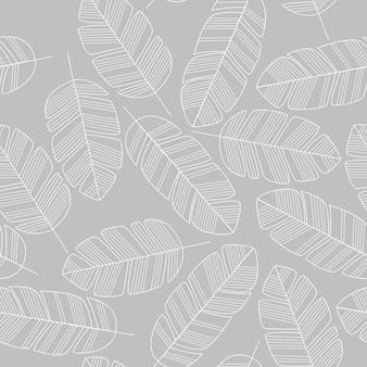 Naadloos patroon met witte bladeren op grijze achtergrond