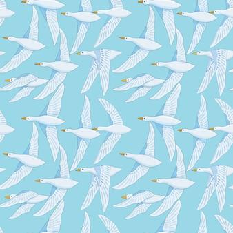 Naadloos patroon met witte eendvogel op blauwe hemel