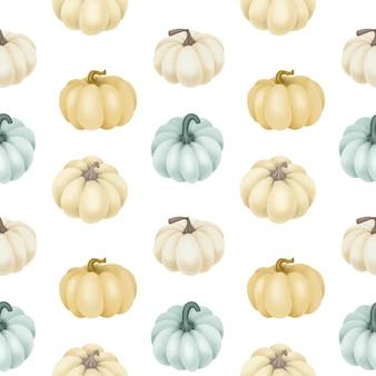 Naadloos patroon met witte en blauwe pompoenen
