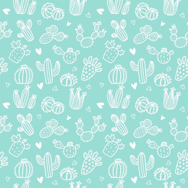 Naadloos patroon met witte lijncactus en succulents op muntachtergrond.