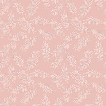 Naadloos patroon met witte tropische bladeren op roze achtergrond